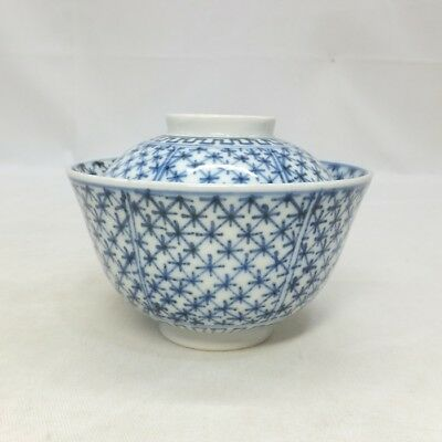 H300 Classy Japanese really old KO-IMARI blue-and-white porcelain covered bowl 3