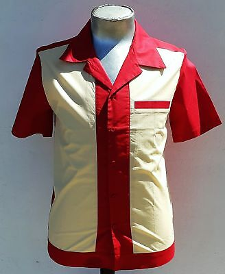 Bowling shirt by 'My JuJu Dance', red and cream with pocket.