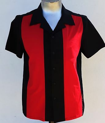 Bowling Shirt by 'My JuJu Dance', black with red panels (last one S)