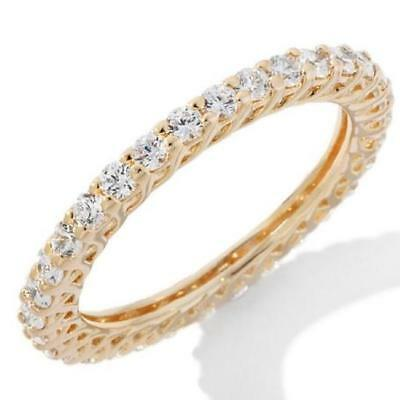 14k Yellow Gold Over Real Solid 925 Silver 2.5mm Eternity Wedding Band Ring CZ