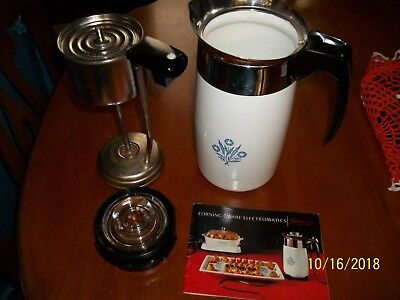 10 Cup Corning Ware Cornflower Blue Electromatic Percolator Coffee Maker No Cord
