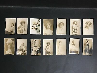 VINTAGE MOVIE STAR TRADING CARD LOT OF 14 UNKNOWN ISSUE 1900's