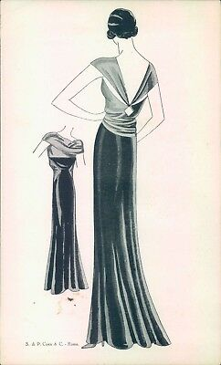 qc51 - bozzetto moda-art deco - fashion - p.coen-roma