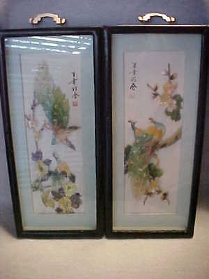 Carved MOP Bird Pictures, Signed Stamped Asian, Wood Back, Vintage Early 1900s