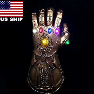 US! Avengers Infinity War Thanos LED Light Gauntlet Gloves Cosplay Costume Fast