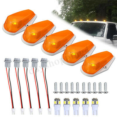 5Pcs Amber Marker Clearance T10 Running Lamps Cab Roof  LED Light Bulbs For Ford