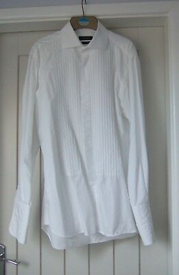 DRESS SHIRT  -  Size 16  -  White - Double cuff - Pleat front  - Ex. condition.