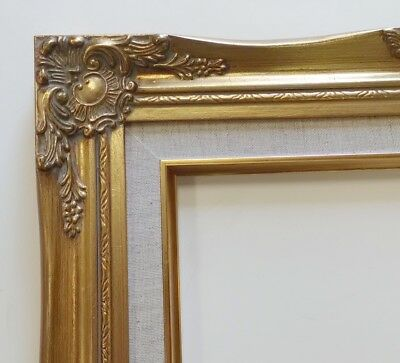 Picture Frame- 11x14 Vintage Antique Style Ornate Baroque Gold Linen Liner 637G