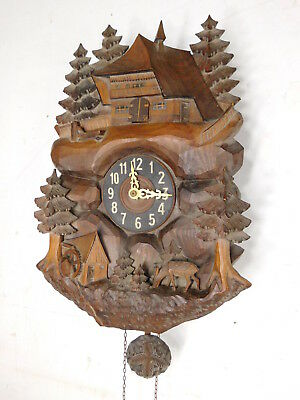 Antique Black Forest Carved Cuckoo Clock Pine Tree Lodge Deer Scene Parts Repair