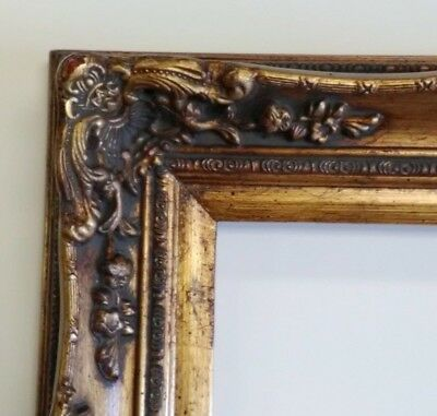 Picture Frame-12x16 Vintage Antique Style Baroque Dark Gold Ornate w GLASS 907G
