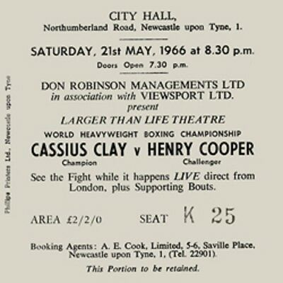 Cassius Clay vs Henry Cooper Coaster Ticket 21st May 1966 High quality Coaster