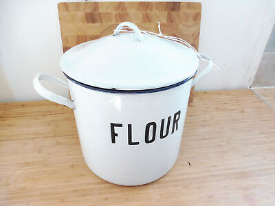 Found Vintage Large  Rustic White Enamel Flour Pot With Lid And Carry Handles