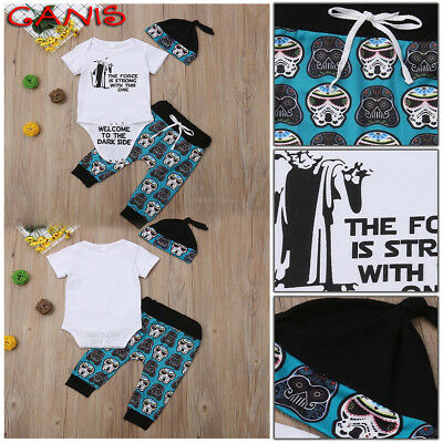 Newborn Infant Baby Boy Girl Star Wars Tops Romper Pants Hat Outfits Set Clothes