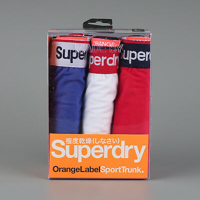 Superdry Size L Men's Underwear Sport Trunk Triple Pack - Blue/White/Red