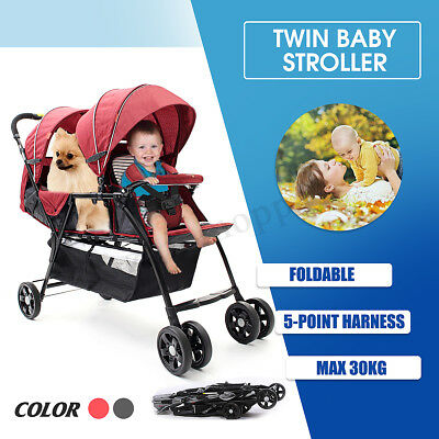 Foldable Baby Twin Tandem Double Stroller Travel Infant with Second Seat Slate