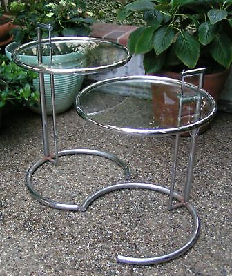 PAIR EILEEN GRAY ClassiCon E1027 CHROME/ GLASS COCKTAIL TABLES,SIGNED & NUMBERED