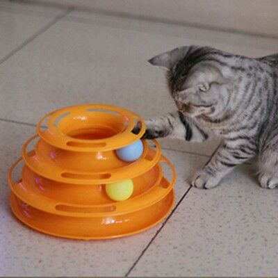 Pet Interactive Toys Cat Turntable Pet Intellectual Track Tower Funny Cat Toy US