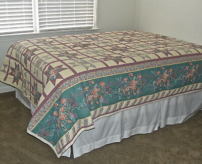 Vintage Hand Quilted Whole Cloth Quilt 86x88