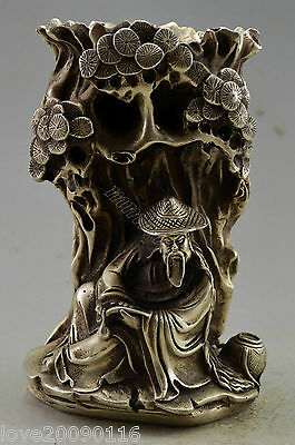 Collectible Decorated Old Handwork Silver Plate Copper Elder Rest Tree Brush Pot