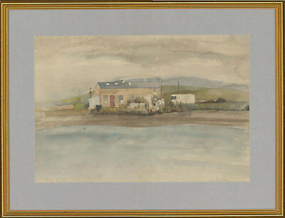 Signed Mid 20th Century Watercolour - House by the Water's Edge