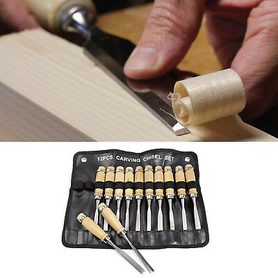 12pc Pro Wood Chisel Carving Professional Carpenters Tool Set In Storage Roll