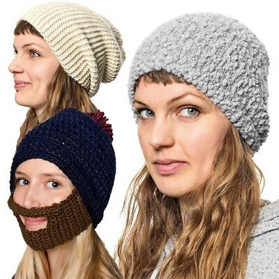 Girls Womens Winter Knitted Beanie Hat Plain Woolly Oversized Stretchy