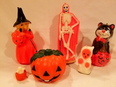 Vintage Halloween Lot of (6) Candles + soap Cat JOL Ghost GURLEY SKELETON Witch