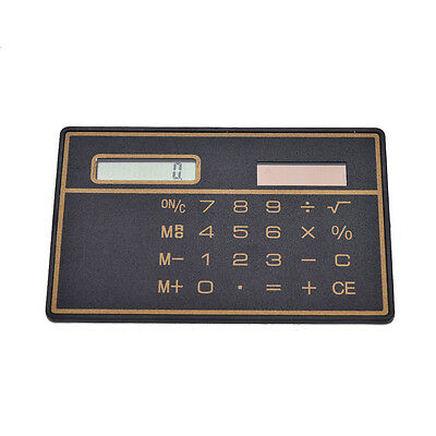 1x Mini Slim Credit Card Solar Power Pocket Calculator Novelty Small Travel FE