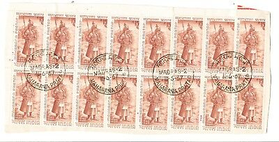 5 Large Blocks of Indian Stamps Postmarked Day of Issue (160)