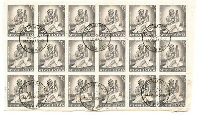 5 Large Blocks of Indian Stamps Postmarked Day of Issue (159)