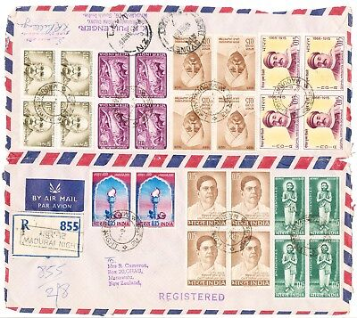 5 Indian Registered Covers opened with multiple blocks (154)