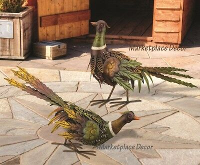Fall Pheasant Bird Pair Garden Statues Handcrafted Metal Sculptures Yard Decor