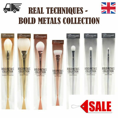 New REAL TECHNIQUES Makeup Brushes 7pcs Bold Metal Brush Set Full Kit Collection