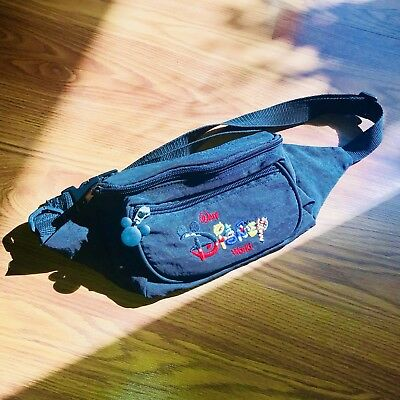 c83e34a7b858 Disney Fanny Pack Black Mickey Mouse Head Waist Bag Vacation Vintage Hip  Pouch