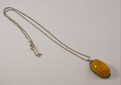 Natural Genuine Butterscotch Egg Yolk Baltic Amber Pendant & Necklace Sterling