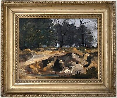 Barbizon Forest Landscape Antique Oil Painting 19th Century French School