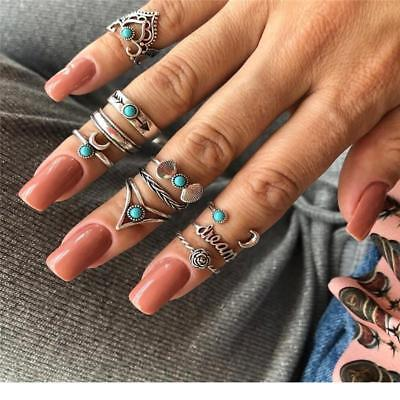 1Set Women Vintage Bohemian Knuckle Ring Carved Flower Gemstone Midi Ring 6L