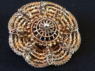 Vintage Sterling Silver Rare Signed Alice Caviness Filigree Brooch Gold Wash