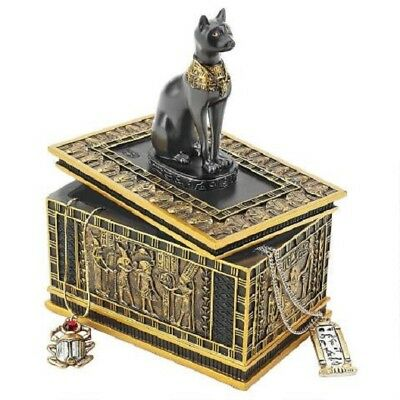Egyptian Goddess Royal Cat Bastet Sarcophagus Ebony & Gold Trinket Box