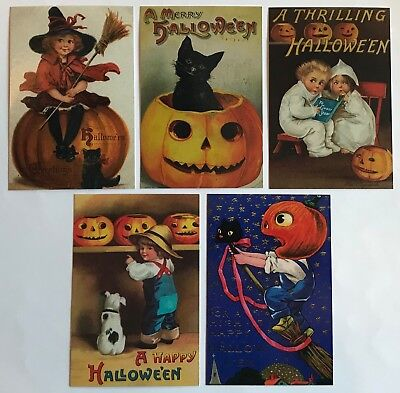 25 Halloween Postcards NEW Vintage Reproduction Lot 5 Designs Black Cat Witch