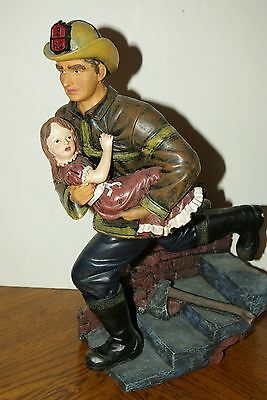 RICH Collection FIREMAN FIREFIGHTER Holding Child  Statue  No.91277 Lifelike