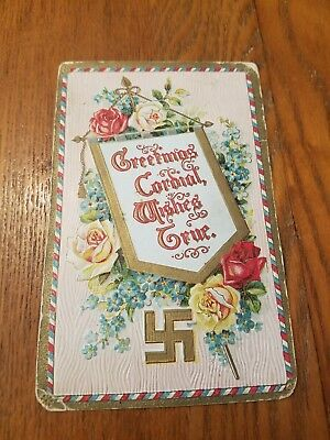 Vintage Postcard Swastika Germany Greetings 1910
