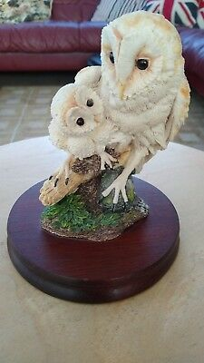 Border Fine arts Owl and chick on branch from 1993