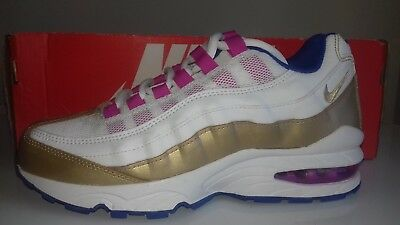 NIKE AIR MAX 95 LE GS Youth 310830-120 White Gold Blue Pink UK 5 EU ... ca7d0d3b2