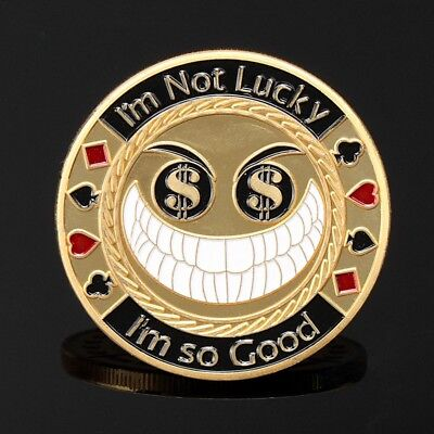 Metal Poker Card Guard Protector I Am So Good Gold Plated With Roun