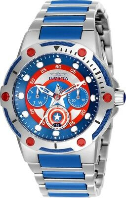 Invicta 26983 Marvel Women's Day-Date 24H 39mm Red/Blue Captain America Watch