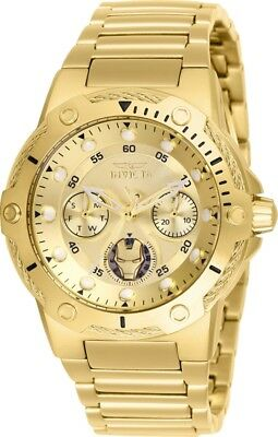 Invicta 26986 Marvel Women's Day-Date 24H 39mm Gold-Tone Gold Dial Ironman Watch