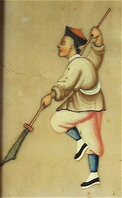 Framed Qing Period Chinese Gouache on Pith Paper Man with Weapon