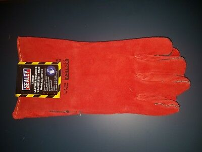 Sealey SSP141 Leather Welding/Welders Hand Gauntlets/Gloves Pair Fully Lined