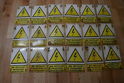 Small Vintage enamel sign  Do not touch. Electric device. DANGER
